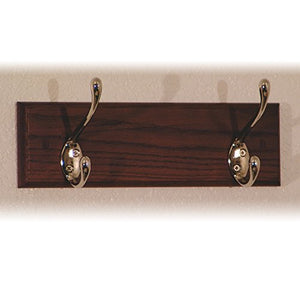 Wooden Mallet 12-Inch 2-Brass Hook Coat Rack, Mahogany