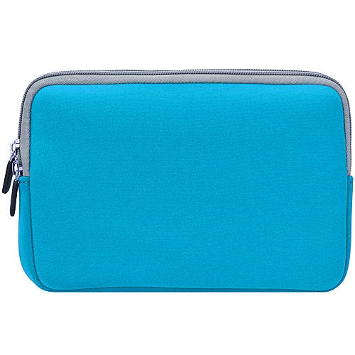 Blue with Gray Trim Slim Protective Soft Neoprene Case Sleeve for Amazon Kindle Touch (Wi Fi, 6 inch E Ink Display) and USB Car Charger and USB Home Charger and USB Data, Sync Cable