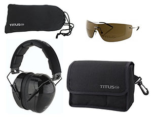 TITUS Safety Earmuffs & Glasses Combo (Black - Contoured, G16 Bronze w/Euro-style Metal Frame)