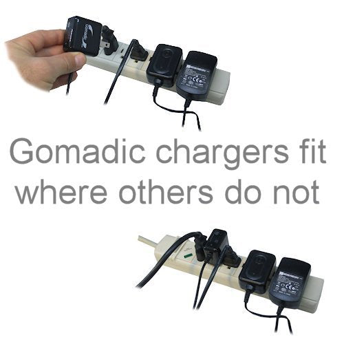 Gomadic Double Wall AC Home Charger suitable for the Motorola ic502 - Charge up to 2 devices at the same time with TipExchange Technology