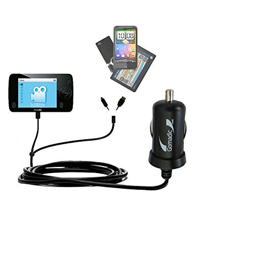 Gomadic Dual DC Vehicle Auto Mini Charger designed for the Philips GoGear SA6085/37 - Uses Gomadic TipExchange to charge multiple devices in your car