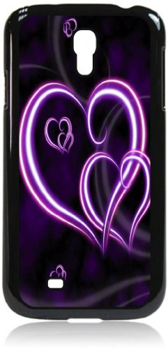 Double Purple Hearts Hard black Snap on plastic case - for the Samsung Galaxy S4 I9500 Case