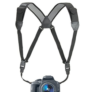 USA Gear DSLR Camera Strap Chest Harness with Quick Release Buckles, Black Neoprene Pattern and Accessory Pockets - Compatible with Canon, Nikon, Sony and More Point and Shoot, Mirrorless Cameras