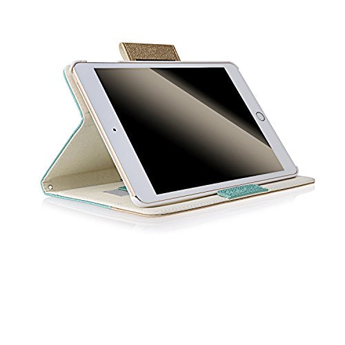 Thankscase iPad Pro 9.7 Case, Rotating Case Cover for iPad Pro 9.7 with Wallet Pocket with Hand Strap with Auto Sleep/Wake for iPad Pro 9.7 (Gold Jade)