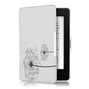 kwmobile Case for Amazon Kindle Paperwhite - Book Style PU Leather Protective e-Reader Cover Folio Case - (for 2017 and Older) Dandelions Black/White