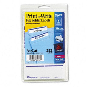 Print or Write File Folder Labels [Set of 3] Color: White / Purple