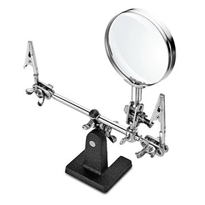 Helping 3rd Hand Magnifier Tool Soldering Iron Base Stand with Vise Clamp & 3X Magnifying Glass Precision Useful to Electrician Engineers Jewelers for Hobbies and Jewelry