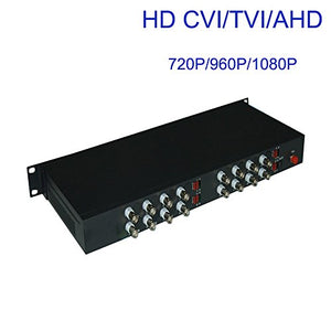 Guantai 16 Channels Video Fiber Over Optical Media Converters Singlemode Fiber Up 10Km for 1080P 960p 720p CVI TVI AHD HD Cameras