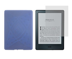 Amazon Kindle 8th Generation TPU Case - iShoppingdeals Slim Fit , Anti-Slip Protective TPU Rubber Gel Cover for Amazon Kindle 8th Generation 2016 Release Case and Screen Protector - Light Blue