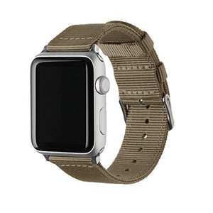 Archer Watch Straps - Premium Nylon Replacement Bands for Apple Watch (Khaki, Stainless, 38/40mm)