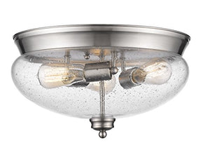 Z-Lite 722F3-BN 3 Light Flush Mount, Brushed Nickel