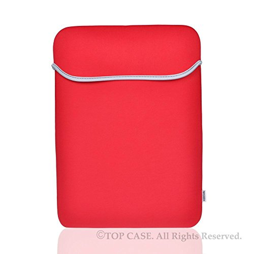 "TOP CASE - Reversible Universal Sleeve Bag Cover Compatible with All 12"" Apple MacBook/Chromebook/Microsoft Surface Pro/Laptop and Notebook with TOP CASE Logo Mouse Pad - Red"