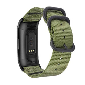 YOOSIDE Nylon Band for Fitbit Charge 4/Charge 3, NOTA Woven Strap with Stainless Steel Ring (Green)