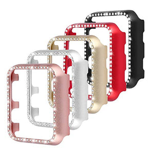 Leotop Compatible with Apple Watch Case Series 6 5 4 SE 40mm 44mm, Metal Bumper Protective Cover Bling Shiny Frame Rhinestone Glitter Diamond Compatible iWatch for Women Girls (5 Color Pack, 40mm)