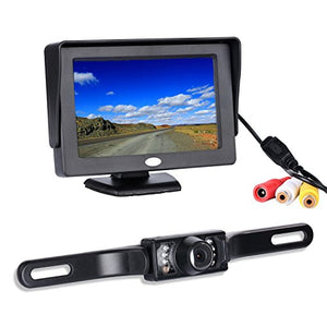 Chuanganzhuo 4332965353 Backup Camera and Monitor Kit, License Plate CMOS Wide Angle Back up Camera with 7 LED Night Vision+ 4.3 TFT LCD Monitor Pack