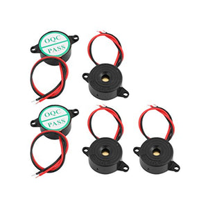 uxcell 5 Pcs Industrial Active Piezoelectric Electronic Buzzer Continuous Sound DC3-24V