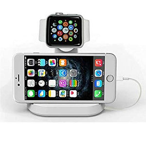 CyberTech 2 in 1 Replacement for Apple Watch and iPhone Charging Station with Built-in Insert Slots, Compatible for iPhone & Apple 2015 iWatch 3 38/42 mm (White)