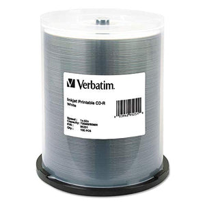 Verbatim CD-R, 52x, 700MB, Inkjet Printable, White, 100/Pack