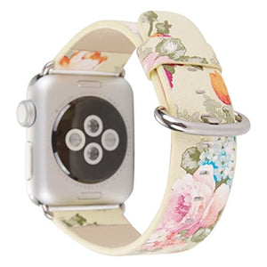 Compatible with Apple Watch Band 42mm 44mm, Soft Leather Ink Painting Flowers iWatch Strap Replacement Wristband Bracelet for Apple Watch Series 4 (44mm) Series 3 Series 2 Series 1 (42mm)