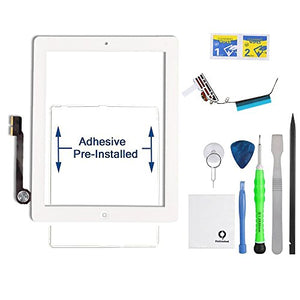 Fixcracked Touch Screen Replacement Parts Digitizer Glass Assembly for Ipad 4 + WIFI Antenna Cable and Professional Tool Kit (white)