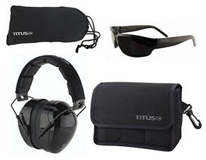 TITUS Safety Earmuffs & Glasses Combo (Black - Contoured, G1 Classic Smoke w/Bold Black Frame)