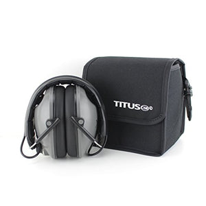 Titus E-Series - Low-Profile - Electronic Noise Cancelling Safety Earmuffs - Hearing Protection (W/Pouch)