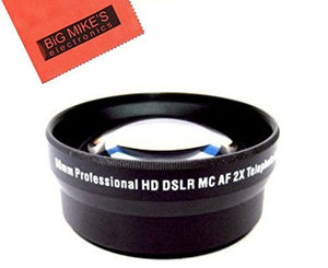 62mm 2X Telephoto Lens For Nikon DF, D90, D3000, D3100, D3200, D3300, D5000, D5100, D5200, D5300, D5500, D7000, D7100, D300, D300s, D600, D610, D700, D750, D800, D810 Digital SLR Cameras Which Has Any