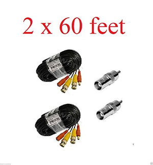 Wennow 2x60ft BNC Male to Power Video Cable (BNC Male/DC Male - BNC Male/DC Female)-Black Color