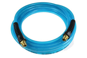 Coilhose Pneumatics PFE60506T Flexeel Reinforced Polyurethane Air Hose, 3/8-Inch ID, 50-Foot Length with (2) 3/8-Inch MPT Reusable Strain Relief Fittings, Transparent Blue