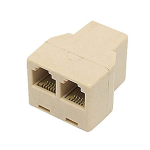 Telephone 2-Way Phone Coupler Splitter Modular Adapter Ivory Line Cord RJ11 Female PortsSplitterDual Jack Telephone Snap-In Extension Standard Add-On Cord Divider