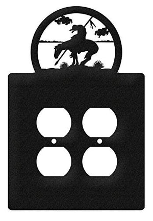 SWEN Products End of Trail Wall Plate Cover (Double Outlet, Black)