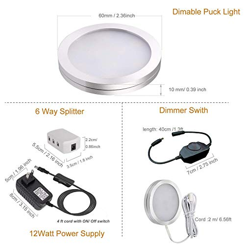 Dimmable Puck Lighting - 8W Warm White Kitchen Under Cabinet Lighting - LED Counter Deluxe Kit w/Rotary Dimmer Switch - Continuous Dimming (Warm White, 4 Pack)