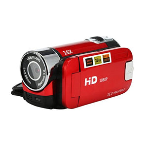 Video Camcorder HD 1080P Handheld Digital Camera 16X Digital Zoom with External Microphone Digital Camcorders (Red)