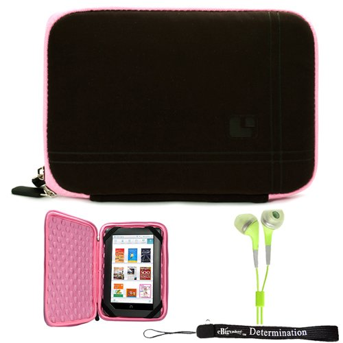 Pink Brown Limited Edition Stylish Sleeve Premium Cover Case for Accessories for Barnes and Noble Nook Color eBook Reader Tablet and Hand Strap and Earbuds