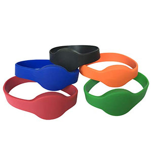YARONGTECH eco Friendly 125khz EM4100 Blue red Green Orange Waterproof Silicone id Wristband,RFID Bracelet,RFID Wristband (Pack of 5)