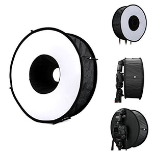 Lightdow 18 x 18 Inch (45 x 45 cm) Foldable Ring Speedlite Flash Diffuser Macro Shoot Round Softbox for Canon Nikon Sony Pentax Altura Photo Yongnuo Neewer Powerextra Godox Speedlight