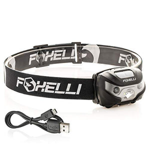 Foxelli USB Rechargeable Headlamp Flashlight - Up to 30 Hours of Constant Light on a Single Charge, Super Bright White Led + Red Light, Compact, Easy to Use, Best Headlight for Camping, Running, Kids