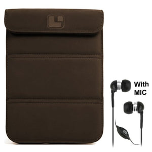 Smart Glove Brown Premium Durable Leather Cover Sleeve Carrying Case can Easily be Converted to a Stand for Kindle Touch 6 inch and Deluxe Stereo Hands Free Headset 3.5mm, with MIC, Black