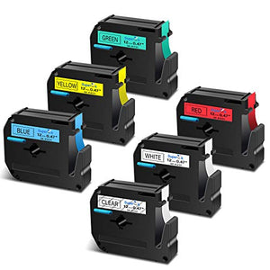 SuperInk 6 Pack Black on Color Label Tape Compatible for Brother MK131 MK231 MK431 MK531 MK631 MK731 PT-100 PT-45 PT-55 PT-65 PT-70 PT-80 PT-85 PT-90 Thermal P-Touch Printer(12mm 1/2inch x 8m 26.2ft)