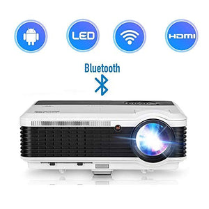 2019 Android HD LCD Projector Bluetooth LED 3900 Lux LED Multimedia Home Theater Wireless Projectors Airplay WiFi Support iPhone iPad HDMI VGA USB RCA Audio for Games DVD Movies TVs APPs