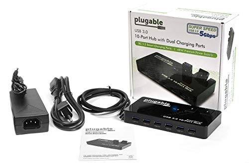 Plugable USB Hub, 10 Port - USB 3.0 5Gbps with 48W Power Adapter and Two Flip-Up Ports