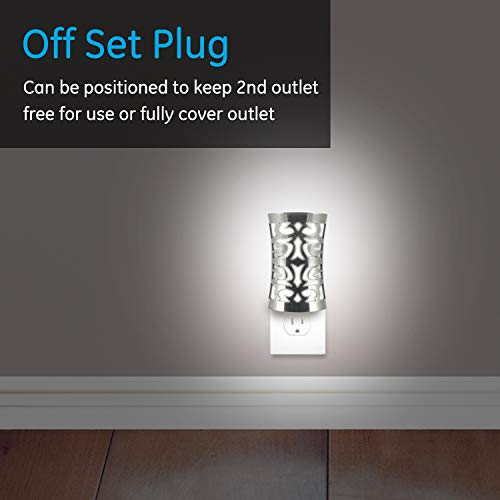 GE Coverlite LED Plug-in, Dusk-to-Dawn Sensor, Auto On/Off, Decorative Night Light, Energy-Efficient, Ideal for Hallways, Kitchens, Bathrooms, Bedrooms, Offices, Brushed Nickel, 11544