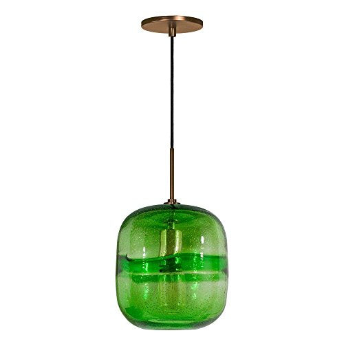 Jesco Lighting PD407-GN/BZ 1-Light Line Voltage Pendant and Canopy with Bronze Socket, Green