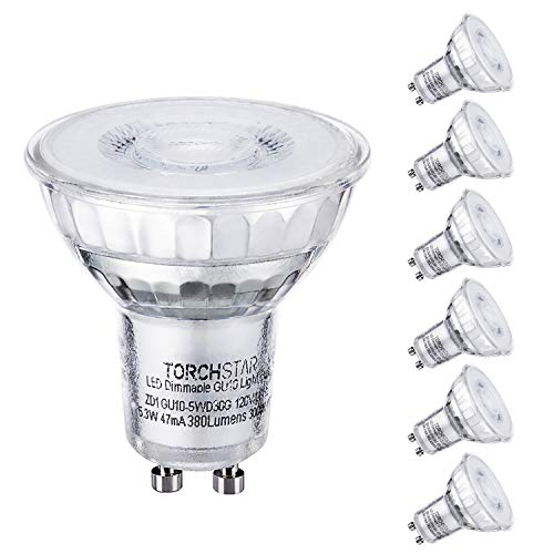 TORCHSTAR Dimmable LED MR16 GU10 Glass Spot Light Bulb, 5.3W (50W Equivalent), 3000K Warm White, 380 Lumens, UL and Energy Star Certified, 3 Year Warranty, Pack of 6