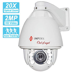 2MP Auto Tracking PTZ IP Camera with 20X Optical Zoom, Waterproof High Speed Outdoor Security Camera, Support Micro SD Card and P2P, H.265/H.264 ONVIF2.4, 500ft IR Night Vision