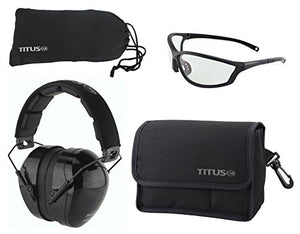 TITUS Safety Earmuffs & Glasses Combo (Black - Contoured, G26 Clear w/Competition Frame)