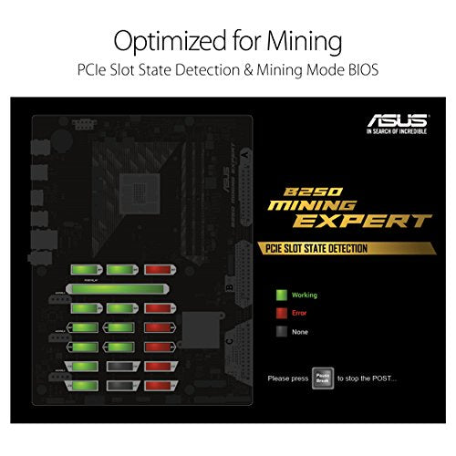 ASUS B250 MINING EXPERT LGA1151 DDR4 HDMI B250 ATX Motherboard for Cryptocurrency Mining (BTC) with 19 PCIe Slots and USB 3.1 Gen1