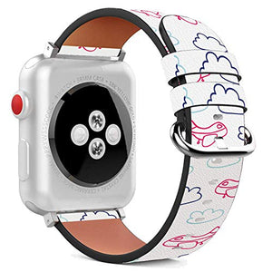 Compatible with Apple Watch - 38mm / 40mm (Serie 6/5/4/3/2/1) Leather Wristband Bracelet with Stainless Steel Clasp and Adapters - Cute Pink Airplane