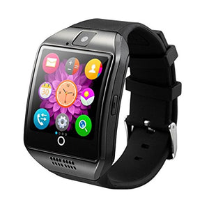 Bluetooth Smart Watch Reloj Inteligente Q18 with SIM TF Card Slot NFC 1.3M Camera Video Facebook Twitter for Samsung Android/Apple IOS Phones (Black)