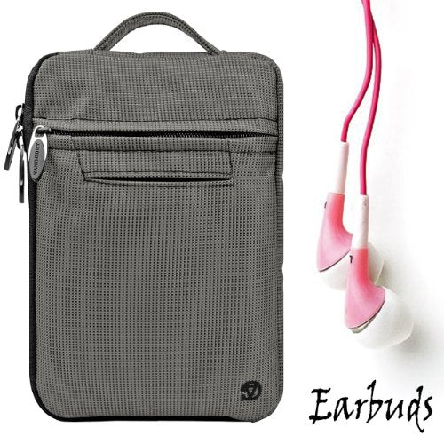 Gray Mighty Nylon Jacket Slim Compact Protective Sleeve Bag Case for Amazon Kindle Touch (Wi Fi 6 inch E Ink Display) and Earbuds